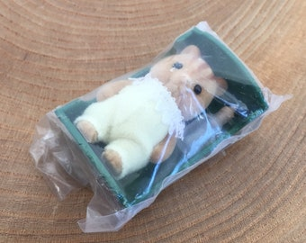 Vintage Sylvanian Families Flocked Figure, Baby Squirrel with Green Bed and Feeding Bottle, sealed in packaging, Tomy, Epoch Co.
