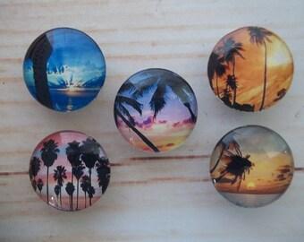 Tropical Sunset Fridge Magnets, Glass Kitchen Magnets, Set of 5, Kitchen Decor, Hostess Gift, Housewarming Gift, Office Decor, Locker Magnet