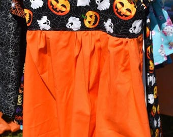 Children's Orange and Ghost/Pumpkin Print Halloween Tank top Dress Girl's Size 4