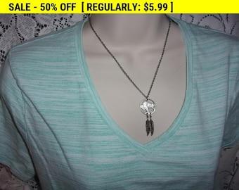 Vintage nickel feather pendant necklace