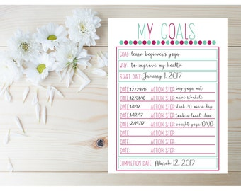 Goal Setting Planner - Goal Tracker - Planner Goal List - Goal Planner - 2017 Planner Printable - Monthly Goals - New Years Resolution