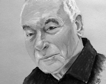 Custom oil pastel portrait of adult.