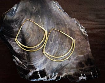 Handmade Brass Triangle Eclipse Hoop Earrings Modern Minimal Boho Style Art Nouveau Art Deco Inspired