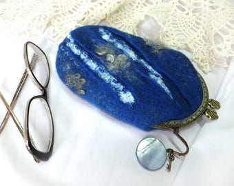 glasses cases felted purse eyeglasses pouch small purse metal frame purse handmade case womens wallet crystal keychain Mother's Day gifts