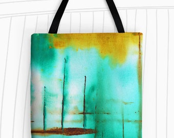 Piers Tote Bag. Modern Art Tote Bag, Reusable Bags, Large Tote Bag, Travel Bag,  Green Tote Bag, Stripes, Nautical, Green Abstract Painting