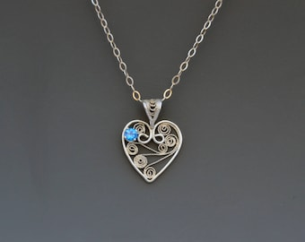 Blue Topaz Sterling Filigree Heart