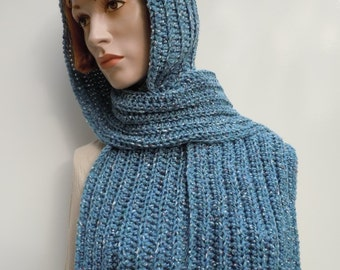 Country Blue Pixie Hood - Blue Hooded Scarf - Crochet Hat Scarf