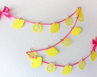 Pink Lemonade Party.  Handcrafted in 2-5 Business Days.  Lemonade Stand Garland.