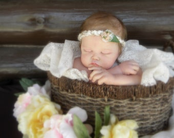 Baby Headband Photo Prop Braided Cotton Band with Satin Ribbon Roses and Pearls  fits 13-15 inches