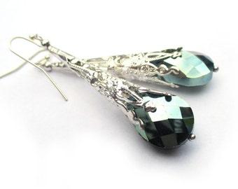 Long Green Earrings, Silver Earrings, Long Dangle Earrings, Green Jewelry, Czech Glass Teardrop Earrings, Silver Filigree Earrings, HAILEY