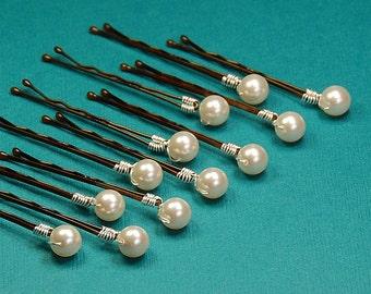 Ivory Pearl Bobby Pins, Hair Accessory, Swarovski Creamrose Light 8 mm Crystal Pearls on Bronze Hair Pins, Set of 12, Bridal Hair Pins