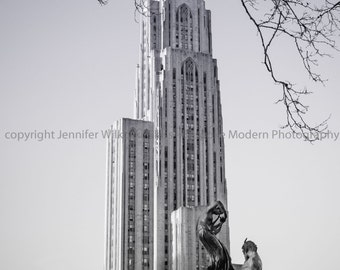 University of Pittsburgh Cathedral of Learning - Black and White - Includes FREE SHIPPING!