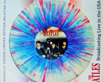"""The Beatles Vinyl MINT Splatter Record """"Broadcasting Live in the U.S.A"""" From 1964 Tour Red White Blue Not For Sale in US Album FREE Shipping"""