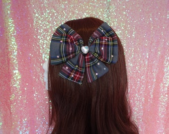 Kawaii Alternative Mahou Kei Tartan Prism Heart Hair Bow