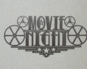 Large Wood Movie Night Home Theater Wall Decor Sign Reels Theater Cinema