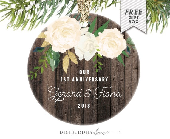 1st Wedding Anniversary Gifts For Wife: 1st Anniversary Gift For Wife Anniversary Christmas Ornament