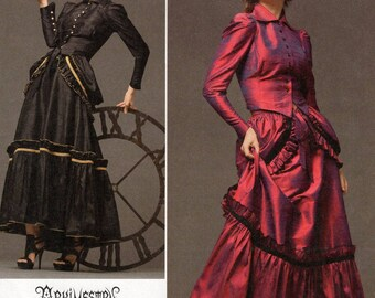 Free Us Ship Simplicity 2207 Sewing Pattern Goth Steampunk 1800's Dress Costume Size 6/12 Bust 30 32 34(Last size left)  New Adult