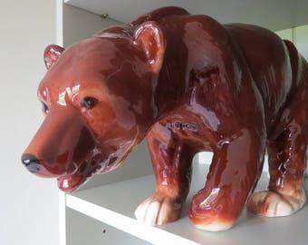 Amazing huge vintage brown glossy china bear. Melba Ware.