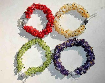 Coral Aragonite Peridot and Amethyst Stone Hand Sewn Beaded Bracelets