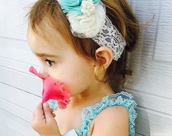 Romper, Headband and ballerina Booties. Baby Girls lace and ribbons.