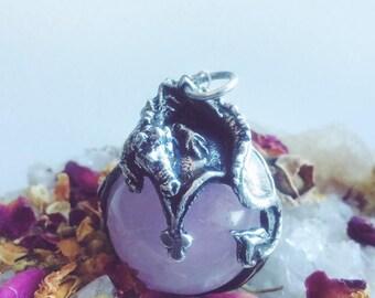 Lindworm II // Silver & Rose Quartz Pendant