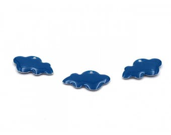 10 enameled charms 25mm blue clouds