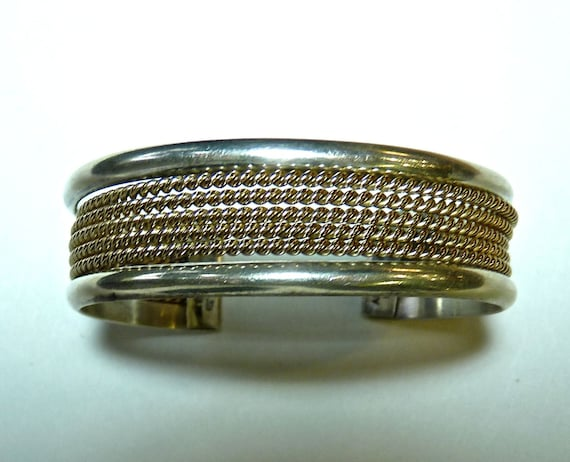 BRACELET CUFF ~ Alvin Toadacheene ~ Navajo Silversmith ~ Albuquerque, New Mexico ~ Sterling Silver and 12k Gold Filled ~ Unisex ~ Free Ship