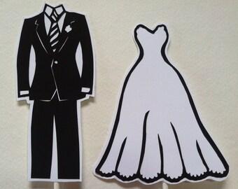 Custom Wedding Cake Topper Silhouette Wedding Gown & Tux