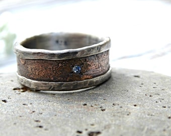 unique mens ring, personalized mens ring bronze silver gemstone, raw engagement ring, big mens ring, mens birthstone ring, mens wedding band