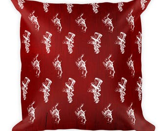 Alice In Wonderland Mad Hatter March Hare Scarlet and White Square Pillow