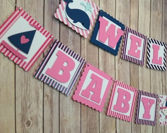 Nautical Baby Shower Banner,  Ahoy Girl Nautical Shower Banner, Nautical Banner, Nautical Party Decoration,Girl Shower Decoration, Ahoy Girl