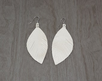 Pearl Shimmer Genuine Leather Feather Earrings