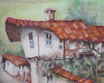 Vintage impressionist oil painting landscape house