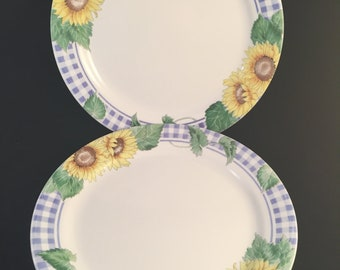 Set of 2 Corelle Sunsations 10-1/4\  Dinner Plates Vintage Sunflower : checkered dinner plates - pezcame.com