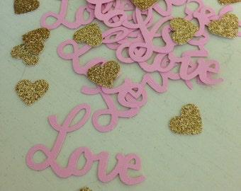 Pink love confetti/ gold heart confetti/die cuts/ table scatter/ wedding decor/ bridal decor/ valentines decor