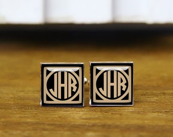1920s film style cufflinks, custom monogrammed letter cufflinks, personalized cufflink, custom initial square cufflinks & tie clip, or set