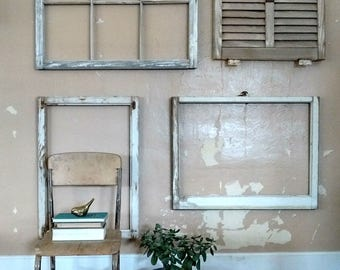 1 Salvaged window frame, large antique window frame, white chippy paint