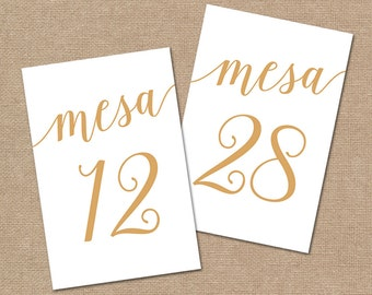Numeros de Mesa 1-30, Spanish Table Numbers // Bella Script Gold Table Numbers Instant Download // 5x7 and 4x6 Table Numbers Wedding