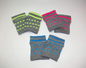 Toddler hand warmers polka dots/ fingerless gloves/ toddler mittens/ gray and pink arm warmers