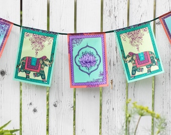 CELEBRATION prayer flags Indian Elephant decor Indian style Bunting Lotus art Banner Bohemian decoration Gypsy garland Hippie Wall hanging