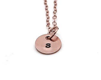 Letter s Necklace, Rose Gold, Initial Necklace, Hand Stamped Jewelry, Mother's Necklace, Personalized Jewelry, Custom Necklace, All Letters