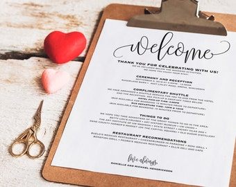Wedding Itinerary, Welcome Bag, Printable Itinerary, Welcome Letter, Wedding Favor, Wedding Printable, PDF Instant Download #BPB203_53