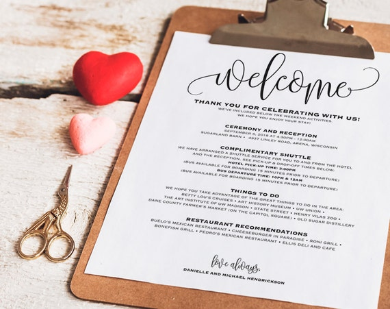 Wedding itinerary welcome bag printable itinerary welcome stopboris Gallery