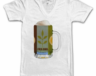 Ladies Fresno City Flag Beer Mug Tee, Women's Tee, Beer Tee, City Pride, Beer T-Shirt, Beer Lovers Tee, Beer Thinkers, Beer, California