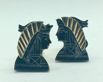 Swank Carved Ebony Egyptian Pharaoh Cufflinks