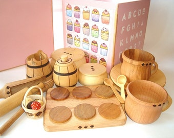 Kitchen set (29 pcs) in wood box for kids play. Wooden dishes set. Kids food play set. Kids kitchen play set