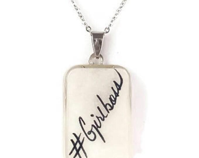 #Girlboss resin pendant Necklace