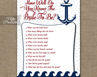 How Well Do You Know The Bride - Nautical Bridal Trivia Game - Printable Bridal Shower Game - Nautical Bridal Shower Games RNT