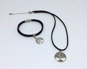 Set necklace and bracelet with tree of life charm
