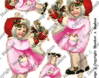 Pink Victorian Vintage  Holly Girl Christmas Angel tags Candy cane Ornament  Digital Collage sheet Printable